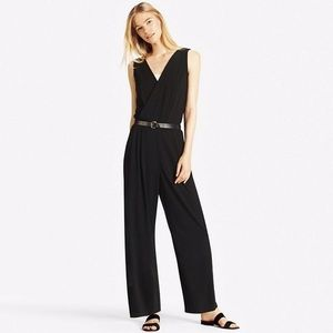 Uniqlo Black Jersey Sleeveless Wide Leg Jumpsuit